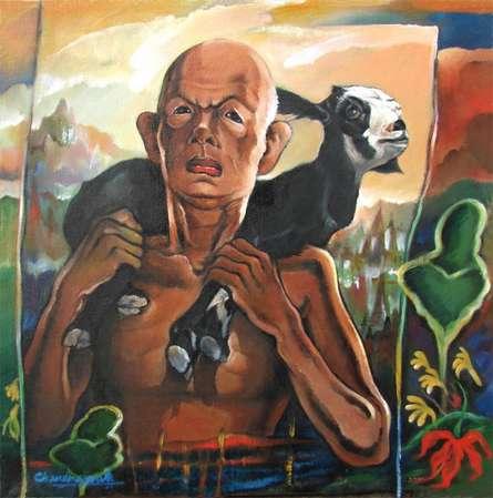 Sacrifice   Painting by artist Chandranath Banerjee   acrylic   Canvas