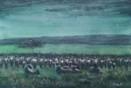Landscape Watercolor Art Painting title Rain in the wild by artist Bhuwan Mahato