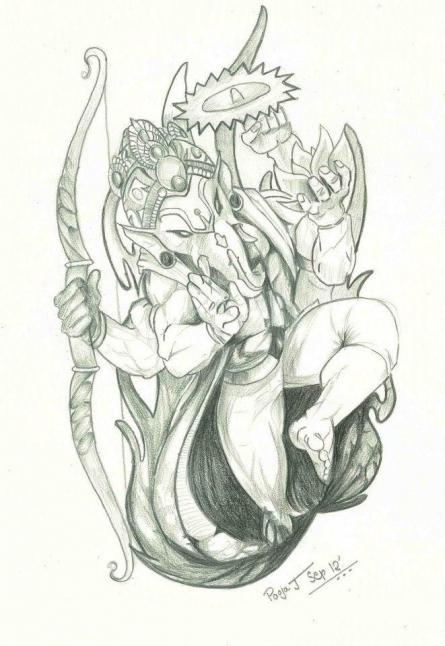 Dancing Ganesha | Drawing by artist Pooja Joshi |  | pencil | Paper