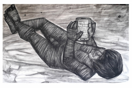 Figurative Charcoal Art Drawing title Alone by artist Pintu Biswas