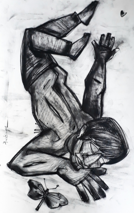 Figurative Charcoal Art Drawing title Butterfly by artist Pintu Biswas