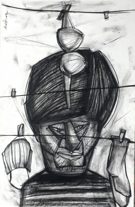 Figurative Charcoal Art Drawing title Composition by artist Pintu Biswas
