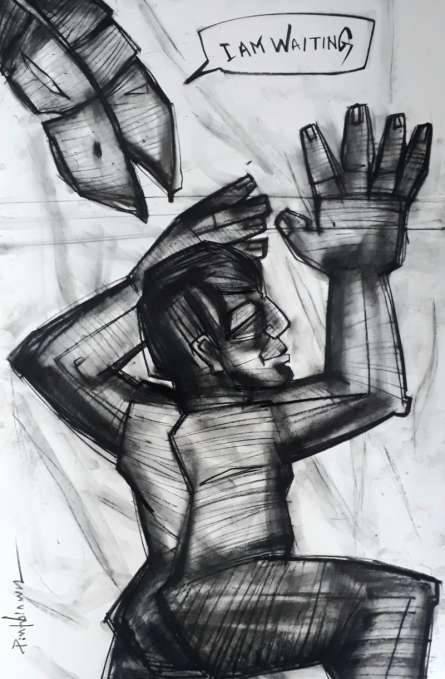 Figurative Charcoal Art Drawing title I Am Waiting by artist Pintu Biswas