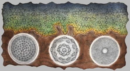 contemporary Mixed-media Art Painting title Life Of Scientific Nature by artist Bitarka Majumder