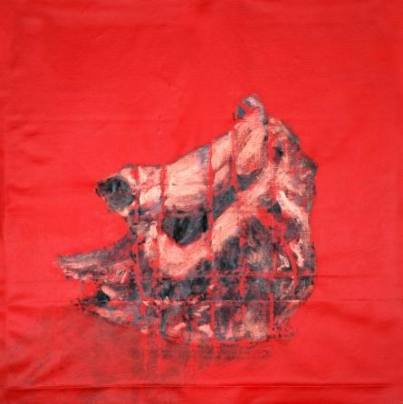 Animals Acrylic Art Painting title Red Rhino by artist Raj Mazinder