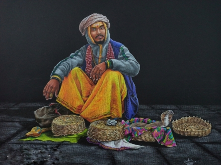 Figurative Color-pencil Art Drawing title The Snake Catcher by artist Sachin Rivankar