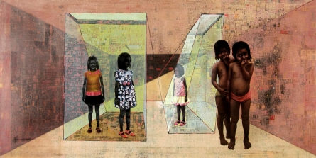 Figurative Mixed-media Art Painting title Dream Lives by artist Guru Kinkar