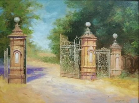 Landscape Oil Art Painting title Entrance by artist Mohan Charya
