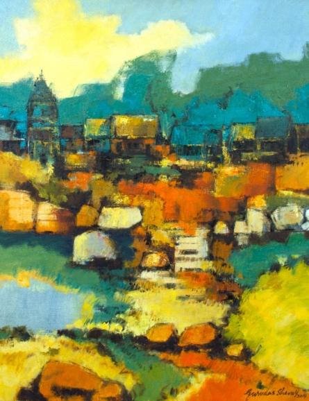 Landscape Oil Art Painting title Untitled by artist Gurudas Shenoy