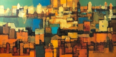Cityscape Oil Art Painting title Untitled 2 by artist Gurudas Shenoy