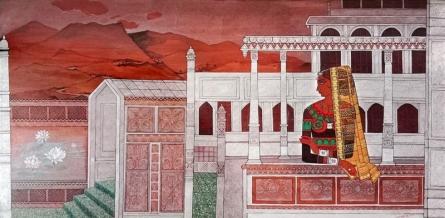 Figurative Acrylic Art Painting title Bani Thani Radha by artist Jayprakash Jagtap
