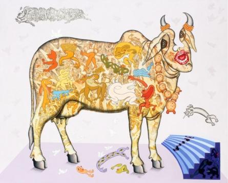 contemporary Acrylic-ink Art Painting title Jeevan Ek Rangmanch by artist Fayyaz Khan