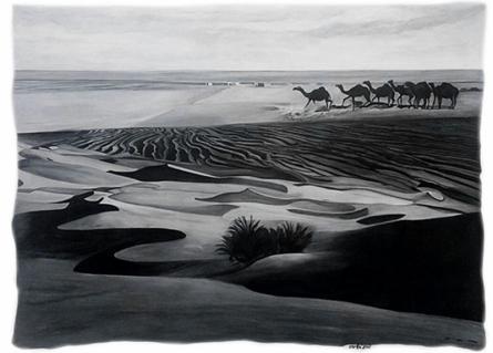 Landscape Mixed-media Art Painting title Desert by artist Manish Sharma