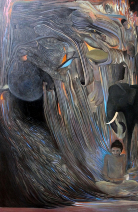 contemporary Acrylic Art Painting title Virad by artist Thambi Sankaran