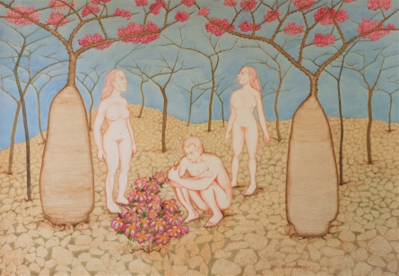 Erotic Watercolor Art Painting title When The Plant Flowering Year by artist Sanu Ramakrishnan
