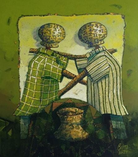 Figurative Acrylic Art Painting title Journey by artist Navnath Kshirsagar