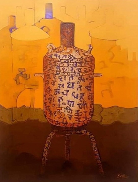 Still-life Acrylic Art Painting title Journey 1 by artist Navnath Kshirsagar