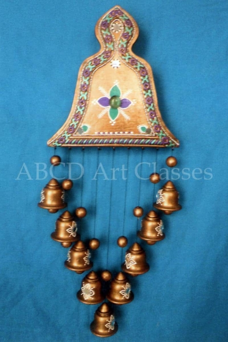 Golden Bells Wind Chime | Terracotta Clay Handicraft | By ABCD- Any Body Can Draw Art Classes
