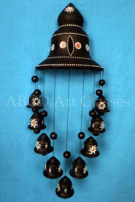 Black Bells Wind Chime | Terracotta Clay Handicraft | By ABCD- Any Body Can Draw Art Classes