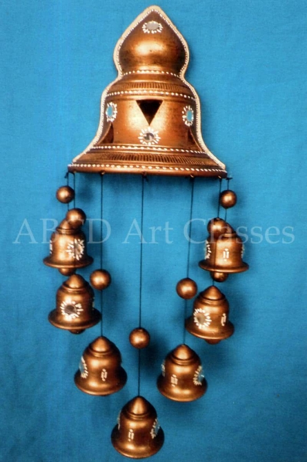 Brown Bells Wind Chime | Terracotta Clay Handicraft | By ABCD- Any Body Can Draw Art Classes