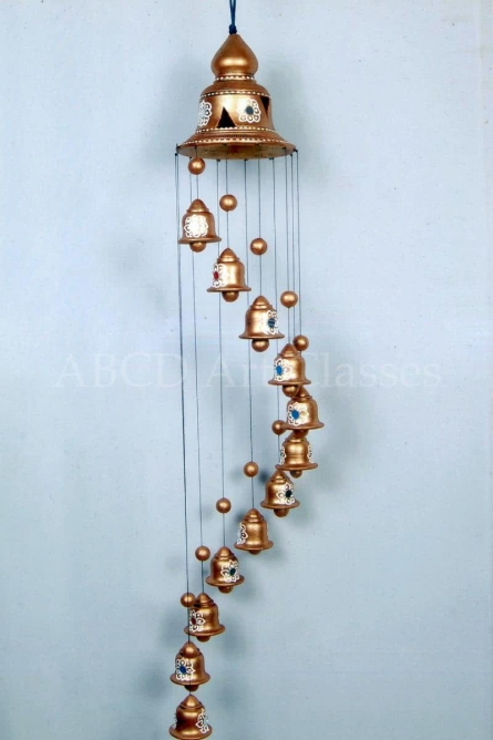 Golden Spiral Wind Chime | Terracotta Clay Handicraft | By ABCD- Any Body Can Draw Art Classes