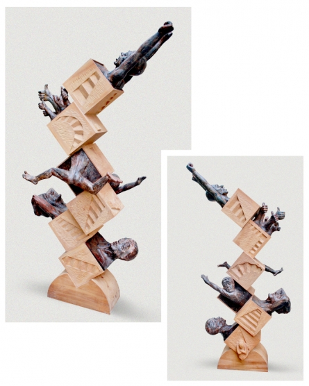 Wood Sculpture titled 'In A System 1' by artist Nirmal Mallick