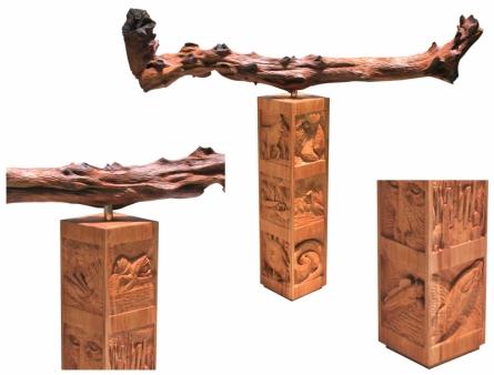 Wood Sculpture titled 'Jungle 1' by artist Nirmal Mallick