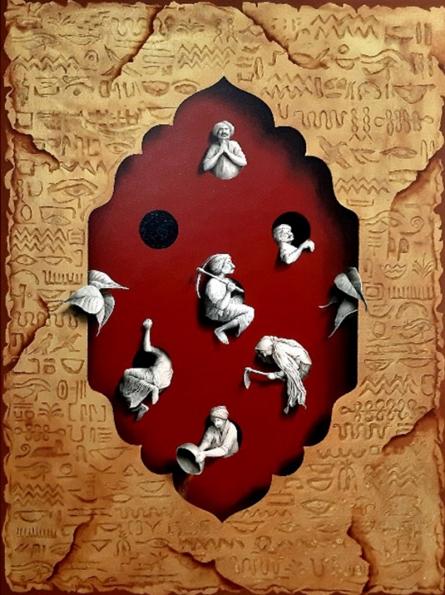 Figurative Acrylic Art Painting title Mystical Life 2 by artist Gourishankar Soni