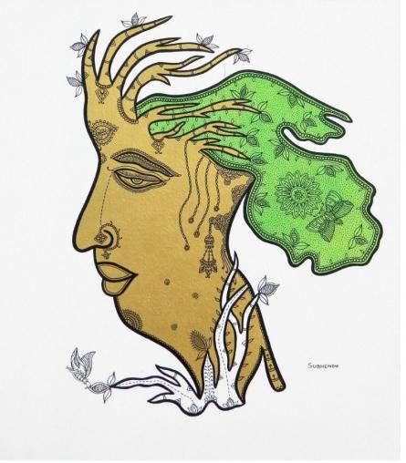 Nature Acrylic-ink Art Painting title Profile Of Nature by artist Subhendu Ghosh