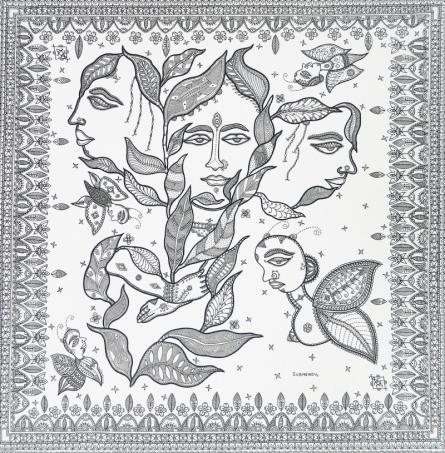 Figurative Pen-ink Art Drawing title Relation by artist Subhendu Ghosh