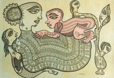 Figurative Mixed-media Art Painting title The Fertility by artist Subhendu Ghosh