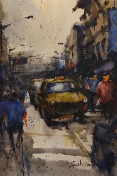 Cityscape Watercolor Art Painting title Kolkata Street 2 by artist Subrata Malakar