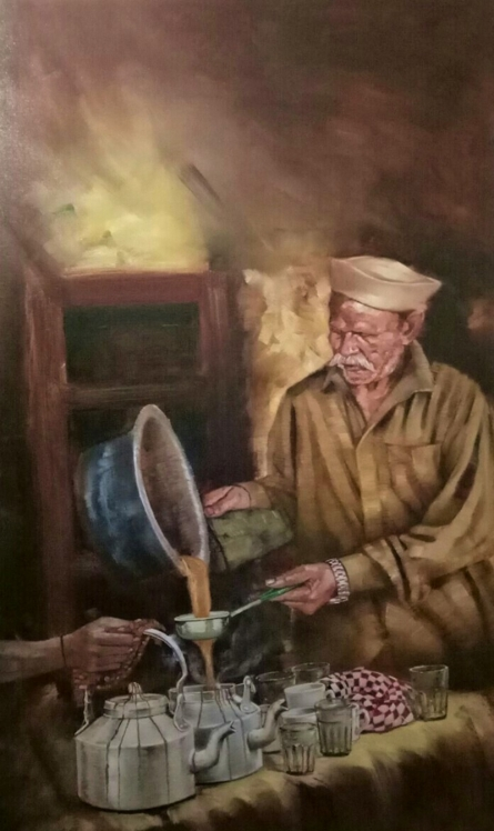 Figurative Oil Art Painting title Chaiwala Series 2 by artist Vijay Gille