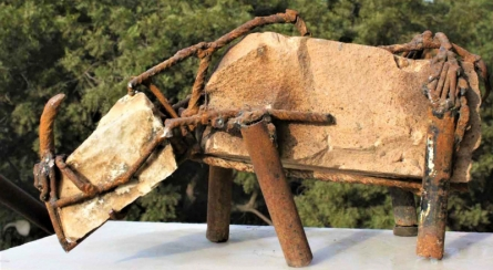 Stone, Iron Rods Sculpture titled 'Untitled 2' by artist Yogender Kumar