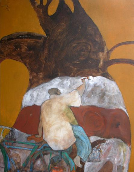 Figurative Acrylic Art Painting title Painter by artist Chandramohan Kulkarni
