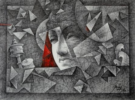 Figurative Mixed-media Art Drawing title Divine Light by artist Ajay Kumar Samir