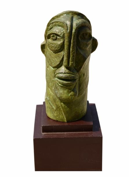 Bronze Sculpture titled 'Face 2' by artist Atish Mukherjee
