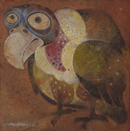 Animals Tempera Art Painting title Mother 3 by artist Atish Mukherjee