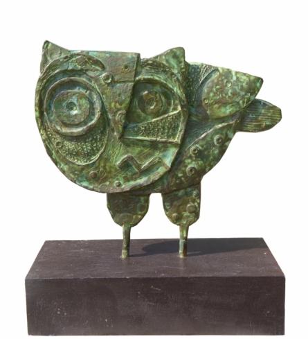 Bronze Sculpture titled 'Owl' by artist Atish Mukherjee
