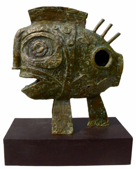 Bronze Sculpture titled 'The Fish Depth' by artist Atish Mukherjee