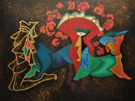 contemporary Acrylic Art Painting title Amritvela by artist Vandana Rakesh
