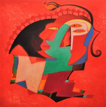 contemporary Acrylic Art Painting title Border by artist Vandana Rakesh