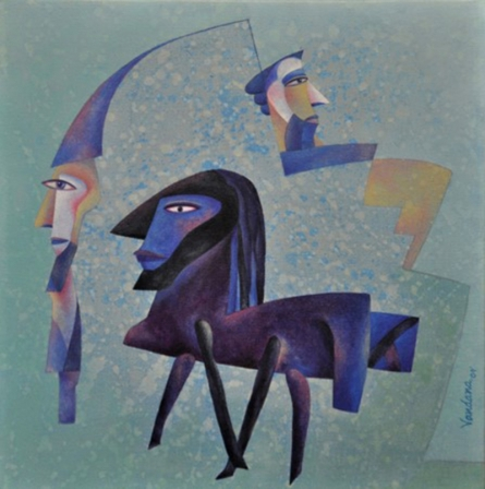 contemporary Acrylic Art Painting title Royalty by artist Vandana Rakesh