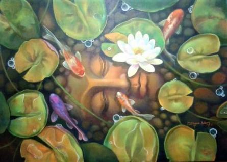 Religious Acrylic Art Painting title Buddha With Nature by artist Shyamsundar Achary