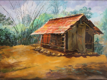 Landscape Acrylic Art Painting title Hut 1 by artist Chandrashekhar P Aher