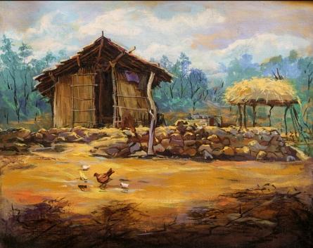 Landscape Acrylic Art Painting title Hut 3 by artist Chandrashekhar P Aher