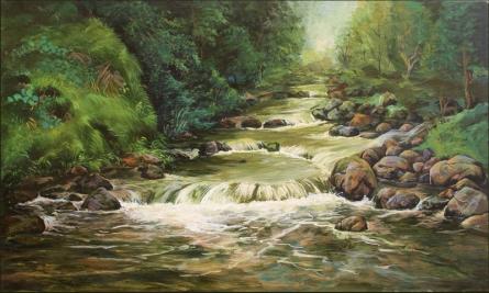 Seascape Acrylic Art Painting title Waterfall 1 by artist Chandrashekhar P Aher