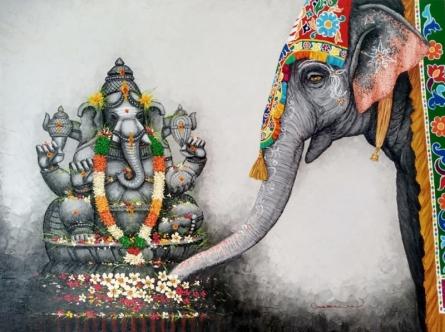 Religious Mixed-media Art Painting title Ganesha by artist Siva Balan