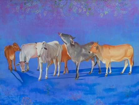 art, painting, oil, canvas, animal, cow