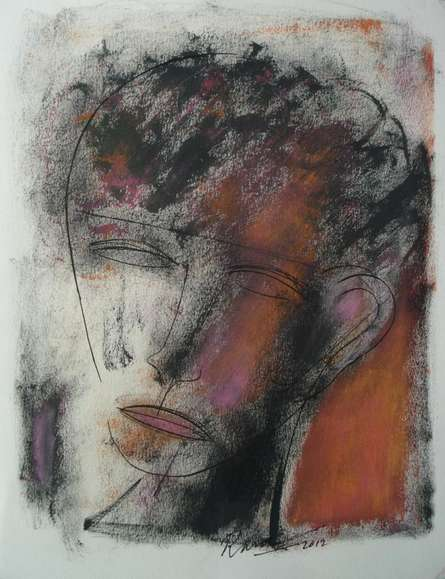 D S Rane | Mixed-media Painting title Face 2 on Paper | Artist D S Rane Gallery | ArtZolo.com